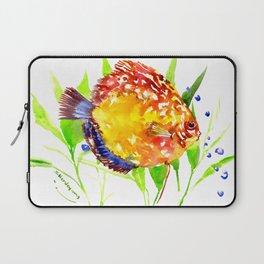 Discus in Aquarium. yellow red green fish illustration Laptop Sleeve