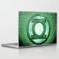 green lantern Laptop & iPad Skins featuring Green Lantern: Symbol by André Joseph Martin