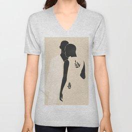 Minimal Abstract Art Couple Unisex V-Neck