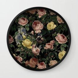 Vintage Roses and Iris Pattern - Dark Dreams Wall Clock