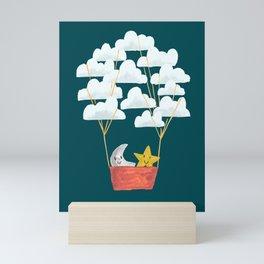 Hot cloud baloon - moon and star Mini Art Print