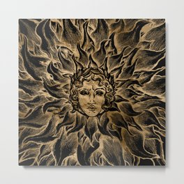 Apollo Sun God Black and Gold Metal Print