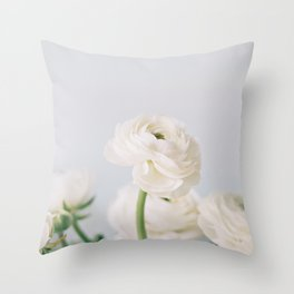 Soft White Ranunculus Throw Pillow