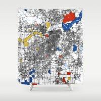 kansas city Shower Curtains featuring Kansas city mondrian map by Mondrian Maps