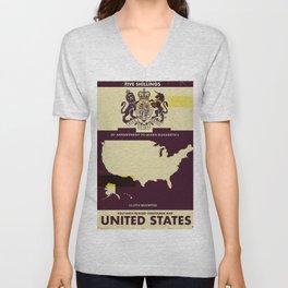 United States Vintage map cover Unisex V-Neck