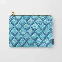 MERMAID SPARKLE Fish Scales Scallop Watercolor Carry-All Pouch