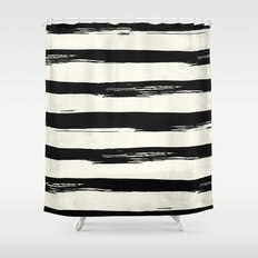 Tribal Paint Stripes Black and Cream Shower Curtain