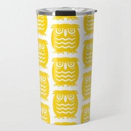 Mid Century Owl Pattern Yellow Travel Mug