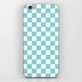 Gingham Duck Egg Blue Checked Pattern iPhone Skin