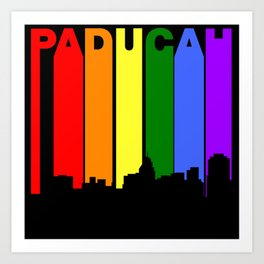 Paducah Kentucky Gay Pride Rainbow Skyline Art Print