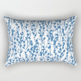 Petite Double Pussywillow Pattern — Blue Rectangular Pillow