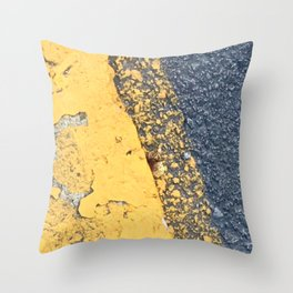 Blue Water Yellow Line Throw Pillow