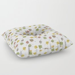 Colorado Aspen Tree Leaves Hand-painted Watercolors in Golden Autumn Shades on Clear Floor Pillow