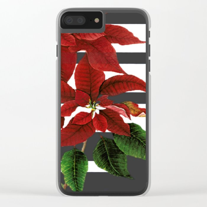 vintage poinsettia on modern background Clear iPhone Case
