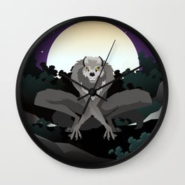werewolf beast in the night Wall Clock