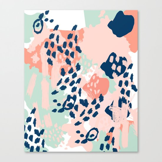 Kylie - abstract mint pastels painting boho trendy simple minimalist canvas home decor Canvas Print