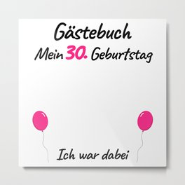 30th Birthday Women Guest Book Metal Print