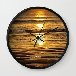 Coastal Sunset Seashore Sand Texture Beach Seaside Wall Clock