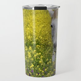 White Horse in a Yellow Pasture Travel Mug