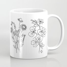 Botanical Decor Detailed Line Drawings Of Beautiful Edible and Medicinal Cottage Flowers Coffee Mug