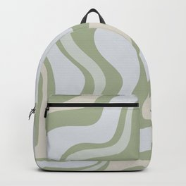 Liquid Swirl Contemporary Abstract Pattern in Light Sage Green Backpack