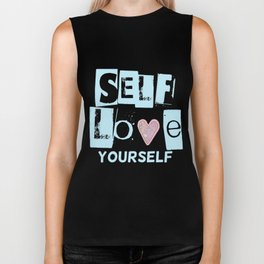 Love Your Self in Blue Biker Tank