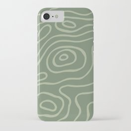 Topographic Map / Grayish Green iPhone Case
