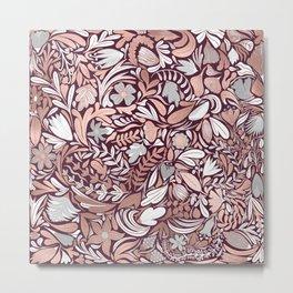 Rose Gold Burgundy Floral Illustration Pattern Metal Print