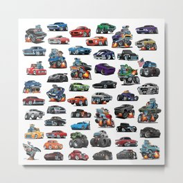 American Hot Rods, Muscle Cars, Street Rods, Pickup Trucks and Motorcycle Cartoons Metal Print