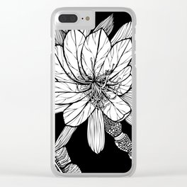 Orchid Cactus in Black and White Clear iPhone Case