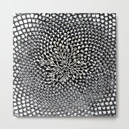 Chrome Effect Sunflower Portrait by Jeanpaul Ferro Metal Print