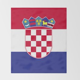 Croatia flag emblem Throw Blanket