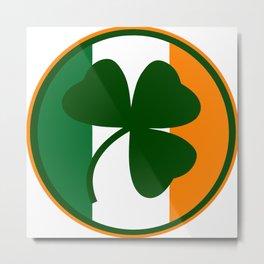 Green and orange Irish logo, shamrock  Metal Print
