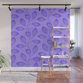 Climbing Leaves In Blue On Cold Lilac Wall Mural