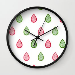 Pink and green raindrops Wall Clock