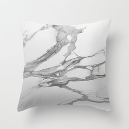 White Marble With Silver-Grey Veins Throw Pillow