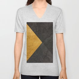 Yellow and Grey - Triangle Unisex V-Neck