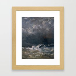 Lighthouse in Breaking Waves Framed Art Print