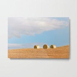 Rolls Of Hay Bale   Tuscany Metal Print