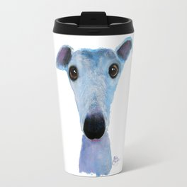 Nosey Dog Whippet Greyhound ' BLUEBELL ' by Shirley MacArthur Travel Mug