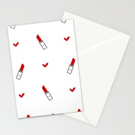 cute hand drawn red lipsticks Stationery Cards
