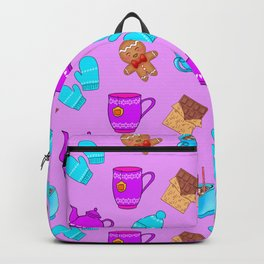 Lovely gingerbread men cookies, chocolate, hot cocoa with marshmallows, cute girly winter pattern Backpack