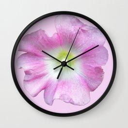 Pink Hollyhock Wall Clock