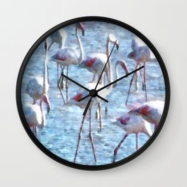 Stand Out In the Crowd Flamingo Watercolor Wall Clock