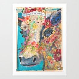Frida's Pet Cow Art Print