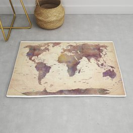 Old Watercolor World Map Rug