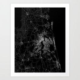 Jacksonville map Art Print