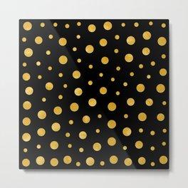 Elegant polka dots - Black Gold Metal Print
