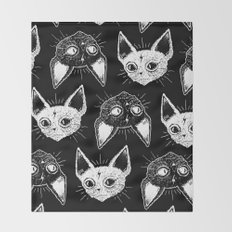 Kittens (Black Version) Throw Blanket