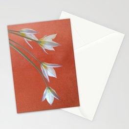 White Flowers on orange background Stationery Cards